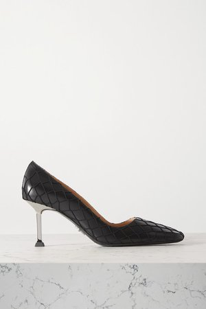Leather And Fishnet Pumps - Black