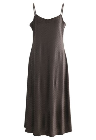 Wave Textured Velvet Cami Dress in Brown - Retro, Indie and Unique Fashion