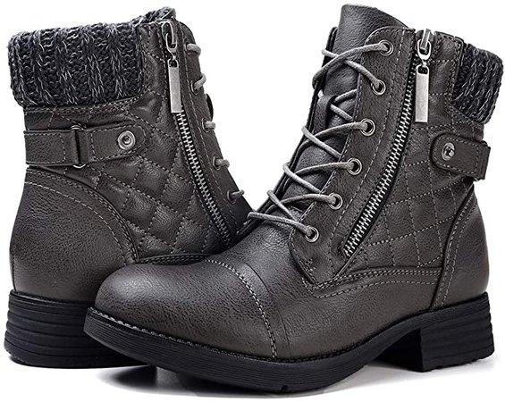 Amazon.com | STQ Women's Combat Boots Lace up Ankle Booties | Snow Boots