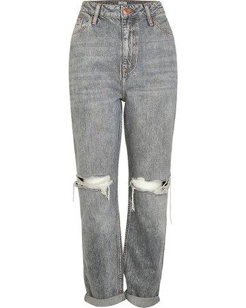 Grey high waisted mom jeans   River Island