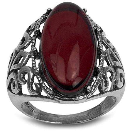 Sterling Silver Red Dark Amber Slim Filigree Ring