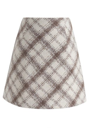 Meet Me in Plaid Wool-Blend Mini Skirt in Sand - Skirt - BOTTOMS - Retro, Indie and Unique Fashion