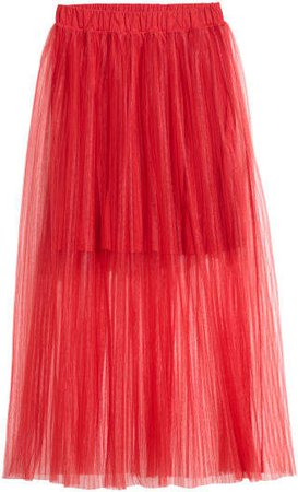 Pleated Tulle Skirt - Red