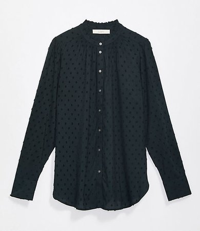 Clip Ruffle Collar Shirt