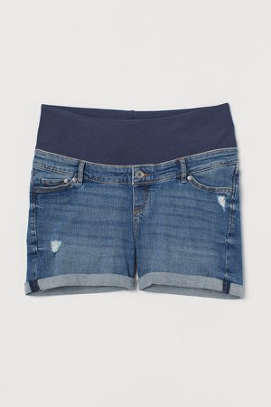 MAMA Denim Shorts - Blue