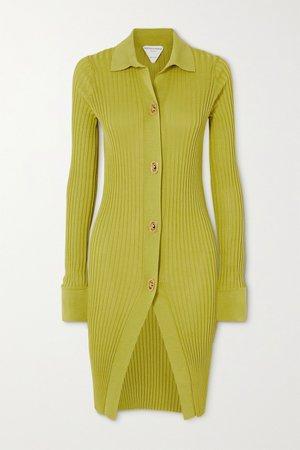 Bright yellow Ribbed cotton and silk-blend cardigan | Bottega Veneta | NET-A-PORTER