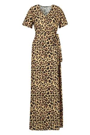 Leopard Print Wrap Maxi Dress   Boohoo