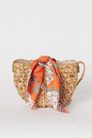 Straw Shoulder Bag - Beige