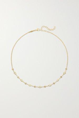 Gold 14-karat gold diamond choker   Jacquie Aiche   NET-A-PORTER