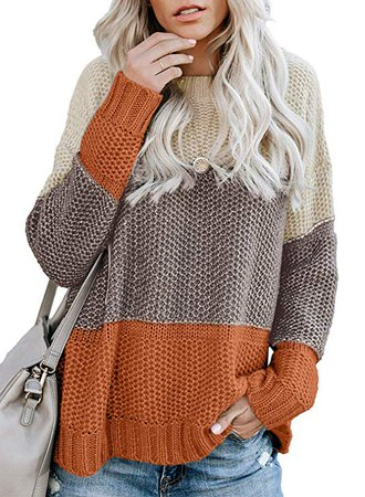 Lovezesent Womens Color Block High Neck Ribbed Knit Oversized Pullover Sweaters at Amazon Women's Clothing store