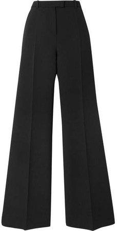 Wool-blend Twill Flared Pants - Black