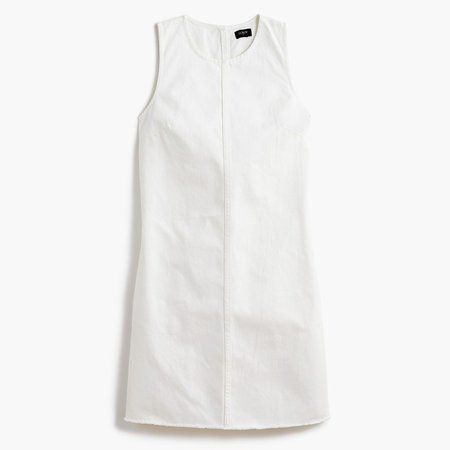 Denim shift dress in white wash