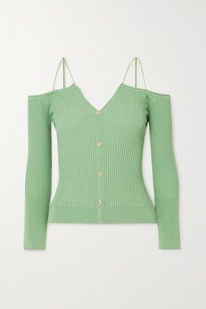Tordu Off-the-shoulder Cutout Ribbed-knit Cardigan - Green