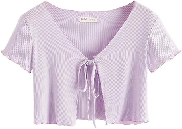 SweatyRocks Women's Tie Up Crop Top Short Sleeve Ribbed Knit Open Front Cropped Shirts at Amazon Women's Clothing store