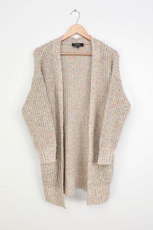 Beige Multi Cardigan - Knit Cardigan - Long Sleeve Cardigan - Lulus