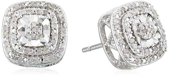 Amazon.com: sterling silver double halo diamond stud earrings (1/4 cttw, j-k color, i3 clarity): Clothing