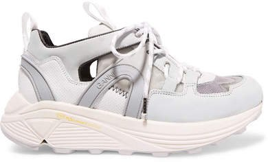 Brooklyn Suede, Leather, Rubber And Mesh Sneakers - White