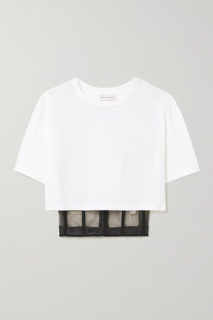 Cropped Layered Cotton-jersey And Tulle T-shirt - White
