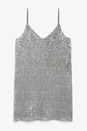 Sequin mini dress - Silver sequin - Dresses - Monki GB