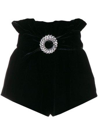 Miu Miu embellished velvet shorts - Black
