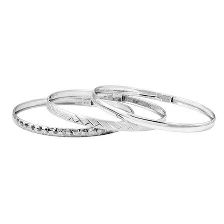 Sterling Silver Textured Bangle Bracelet Set | Kohls