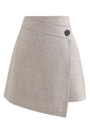 Button Flap Wool-Blended Mini Skirt in Light Tan - Retro, Indie and Unique Fashion