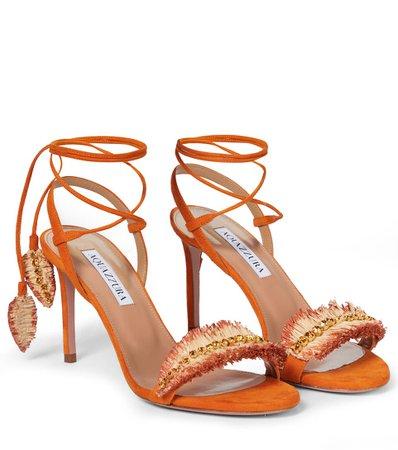 Aquazzura - Isla 85 embellished suede sandals   Mytheresa
