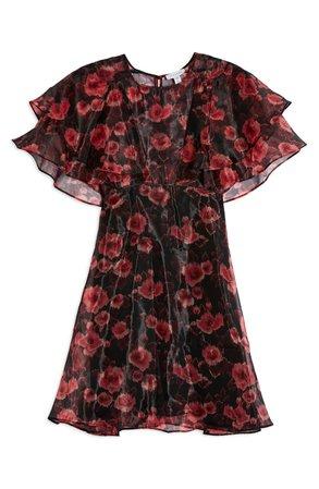 Topshop Organza Floral Print Minidress   Nordstrom