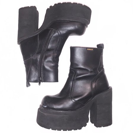 90s / y2k Vintage Sonax black platform ankle... - Depop