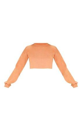 Beau Deep Peach Cut Off Crop Longsleeve Sweater | PrettyLittleThing USA