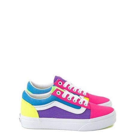 Vans Old Skool Neon Color-Block Skate Shoe - Little Kid - Pink / Purple / Yellow | Journeys