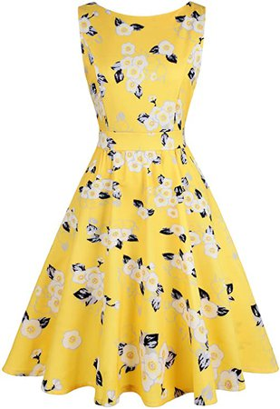 Amazon.com: IHOT Vintage Tea Dress 1950's Floral Spring Garden Retro Swing Prom Party Cocktail Party Dress for Women: Clothing