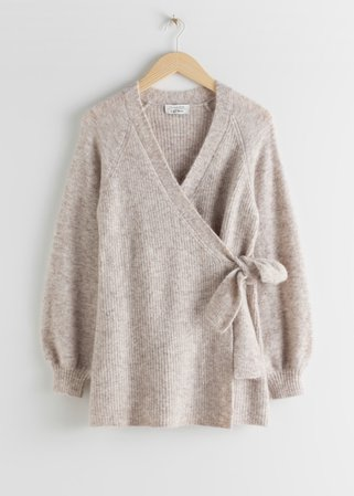 Wool Blend Long Wrap Cardigan - Brown - Cardigans - & Other Stories