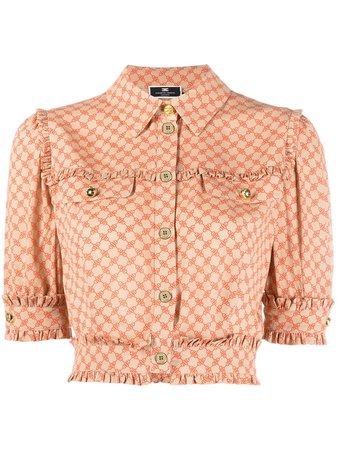 Elisabetta Franchi horsebit-print short-sleeve Cropped Shirt - Farfetch