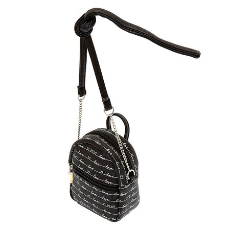 Love Script Mini Backpack Crossbody Bag - Black | Claire's US