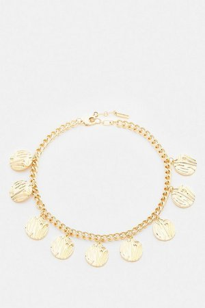 Gold Plated Hammered Coin Necklace | Karen Millen