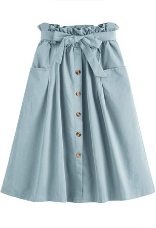 SweatyRocks Women's Vintage Button Front Belted Elastic Waist A Line Midi Skirt with Pocket Blue L at Amazon Women's Clothing store