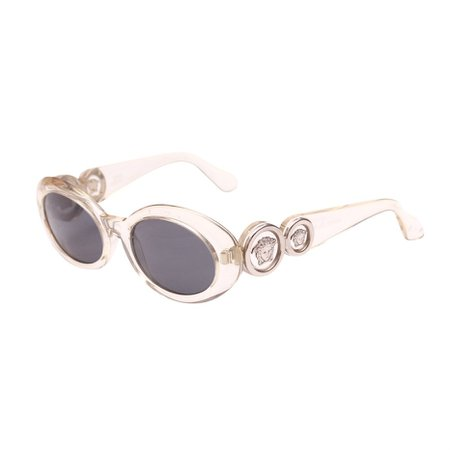 Gianni Versace Sunglasses Transparent Silver Grey... - Depop
