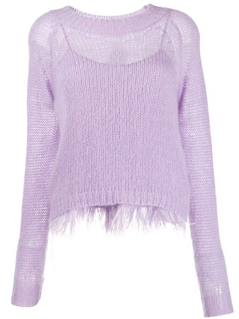 Shop purple Twin-Set feather frill jumper with Express Delivery - Farfetch