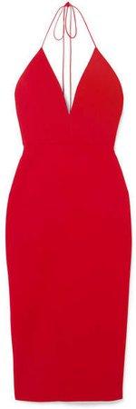 Alex Perry - Crepe Halterneck Dress - Red