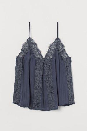 Camisole Top with Lace - Dark denim slate - Ladies | H&M US
