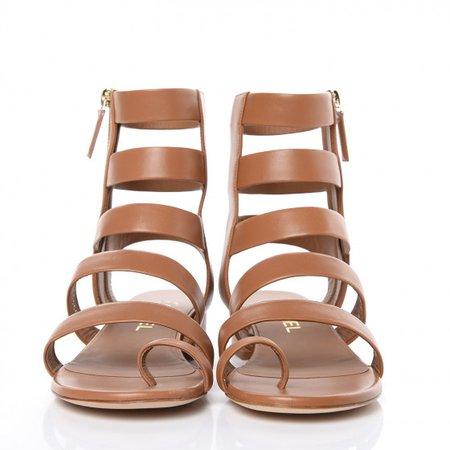 CHANEL Calfskin Gladiator Sandals 37.5 Brown 432728