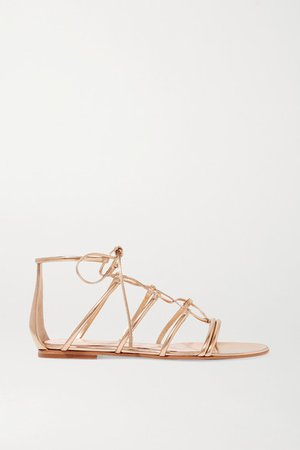 Metallic Leather Sandals - Gold
