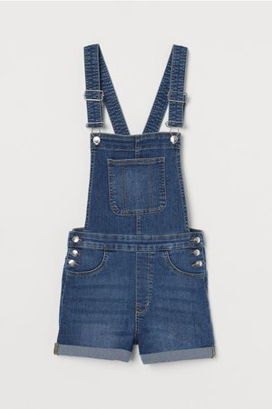 Denim Overall Shorts - Denim blue - Ladies | H&M US