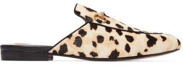 Princetown Horsebit-detailed Leopard-print Calf Hair Slippers - Leopard print