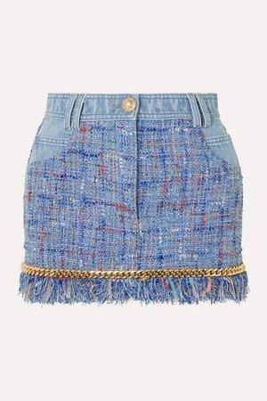 Chain-embellished Cotton-tweed And Denim Mini Skirt - Blue