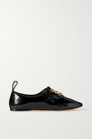 Logo-embellished Patent-leather Ballet Flats - Black