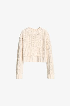 LIMITED EDITION CABLE KNIT SWEATER | ZARA United States ivory