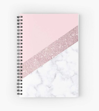 """Stylish white marble rose gold glitter pink"" Spiral Notebooks by NaughtyCat 
