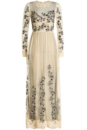 Maxi Dress with Embroidered Lace Tulle Gr. IT 40